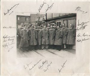 Australian CricketTourists 1948-Mares factory visit-Peltinvain raincoats